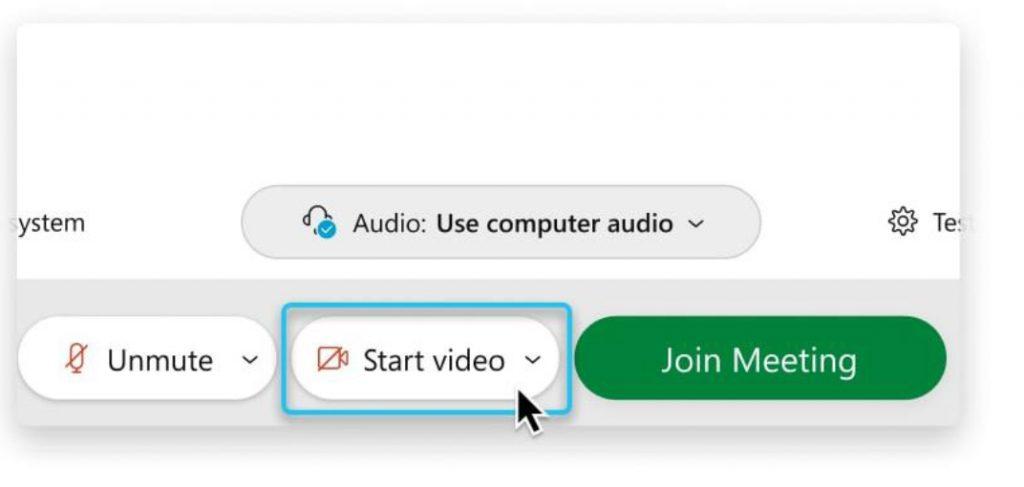 screen shot of start video button