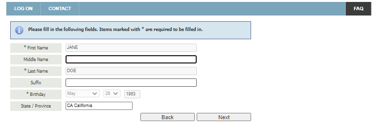 Personal Information form