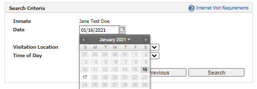 choose date from calendar