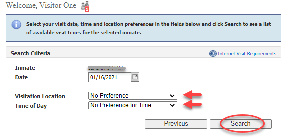 Select location and time of day for appointment
