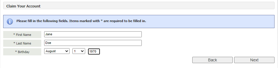 Login page with first and last name and date of birth input