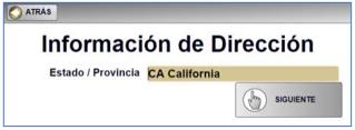 4) Aparecerá la pantalla de Información de Dirección (muestra California). Haga clic en Siguiente.