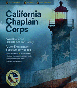 California Chaplain Corps cover with lighthouse and american flag