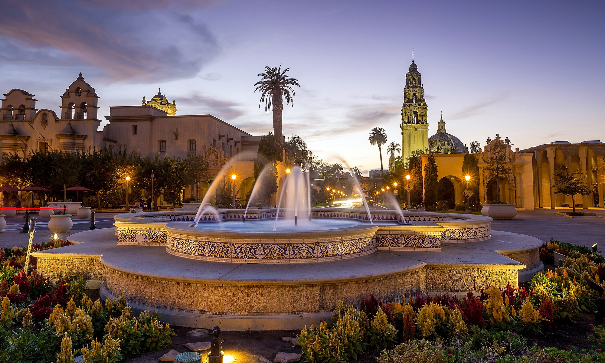 Balboa Park with water fountain in the center