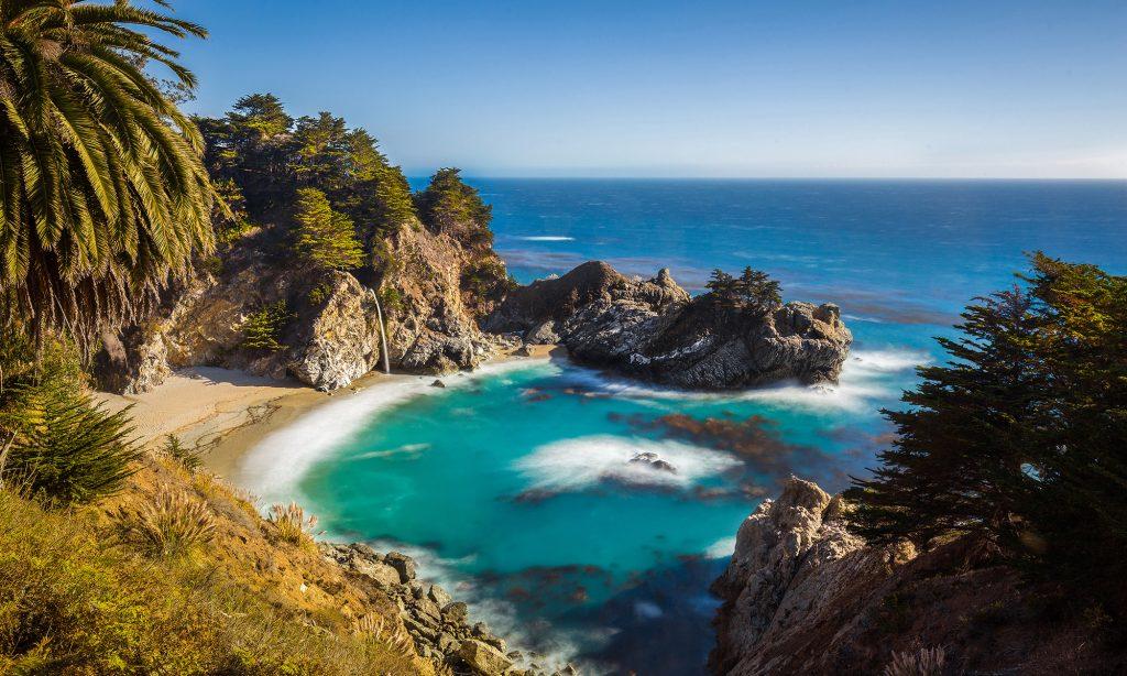 Overlooking Big Sur with waterfallon beach