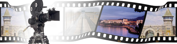 Video camera in front of a wavy faded film strip